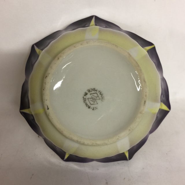 Vintage Hand Painted Opalescent Bowl and Plate For Sale - Image 7 of 9