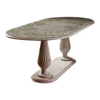 Italian Seagiola Marble Table With Inlaid Design,Two Pedestal Base For Sale