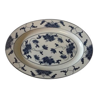 Vintage Royal Tatung Oval Blue & White Porcelain Platter For Sale