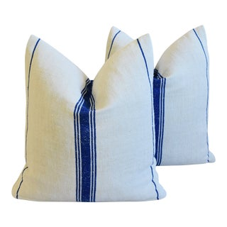 "French Navy Blue Striped Grain Sack Feather/Down Pillows 20"" X 21"" - Pair For Sale"