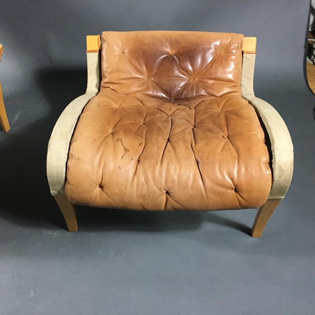 "Bruno Mathsson ""Pernilla"" Lounge Chair + Ottoman, Sweden For Sale - Image 11 of 13"
