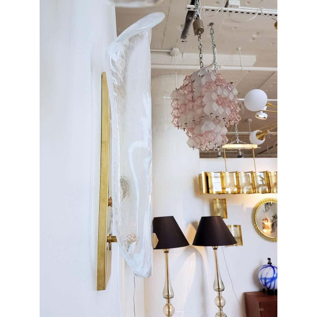 Large Mid-Century Modern White/Transparent Veined Murano Glass Sconces - a Pair For Sale In Dallas - Image 6 of 8