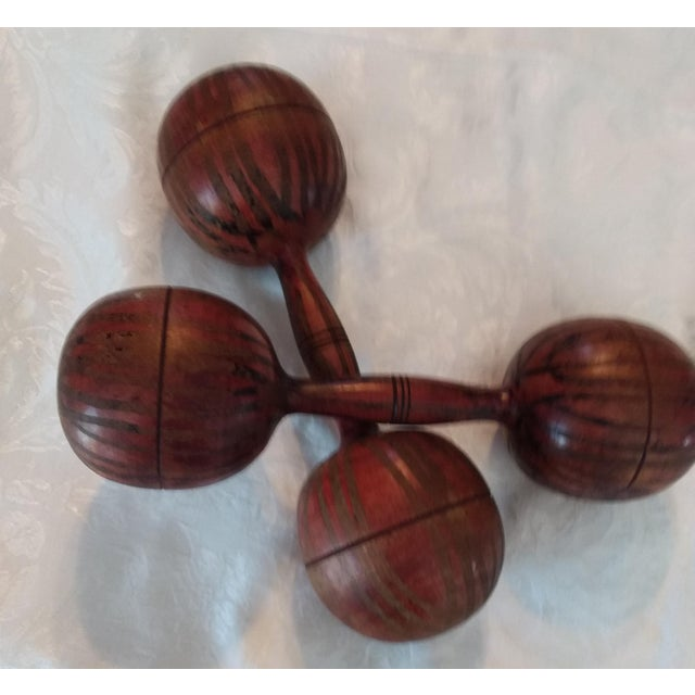 Cabin Antique English Wooden Decorated Barbells- a Pair For Sale - Image 3 of 4