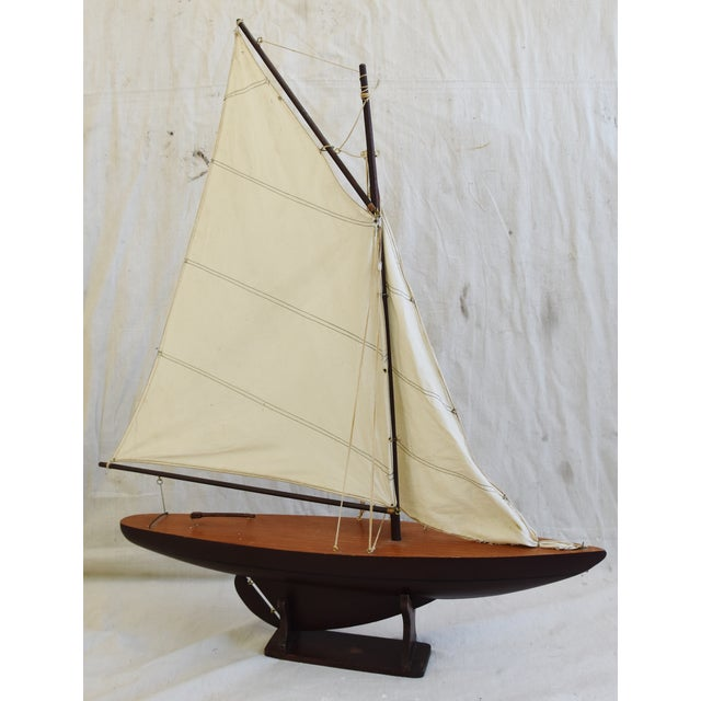 Brass Vintage Nautical Sailing Ship/Boat Model W/Stand For Sale - Image 7 of 13