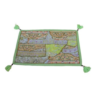 Green Indian Hand-Embroidered & Beaded Silk Pillow Cover For Sale