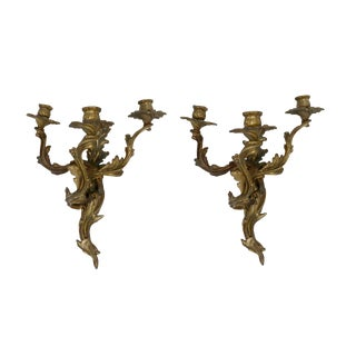 Louis XV Style Bronze Sconces - a Pair For Sale