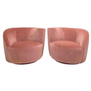 Pair of Nautilus Swivel Chairs in Dusty Rose Velvet For Sale
