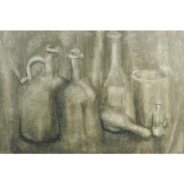 Monochromatic Still Life With Bottles Painting For Sale - Image 4 of 4