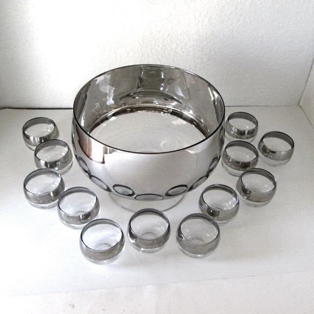 Dorothy Thorpe Footed Punch Bowl Set of 13 For Sale - Image 9 of 9