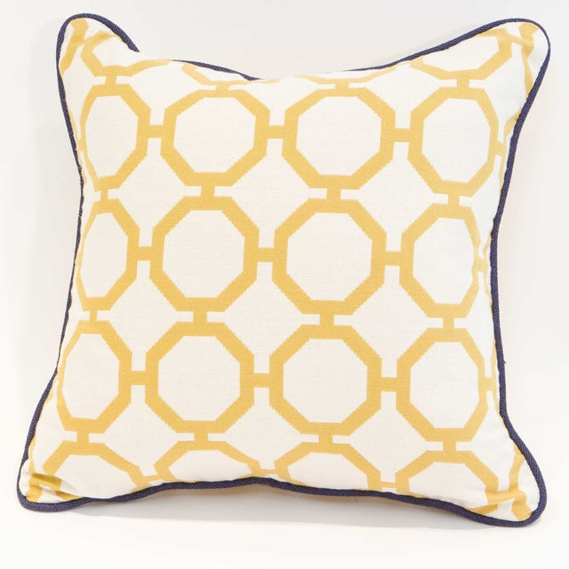 Yellow Geometric Pillows - A Pair - Image 4 of 6