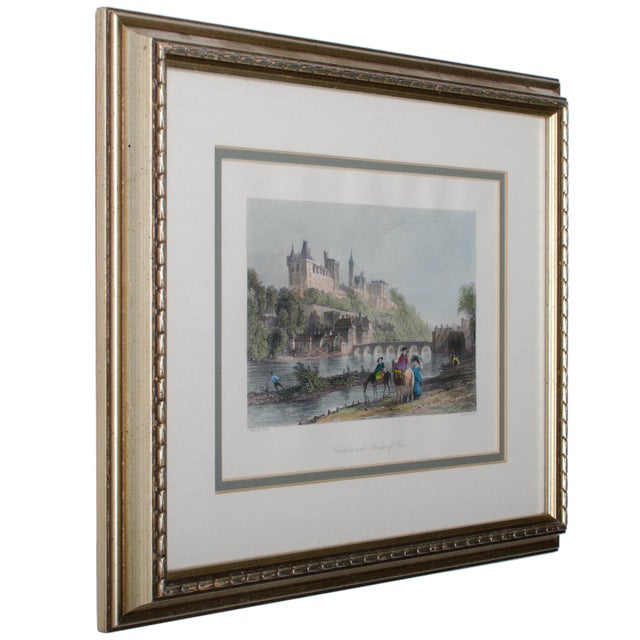 "Offered is a framed steel engraving by Dixon of the Chateau and Bridge of Pau from the 1841 edition of ""The Rhine, Italy..."