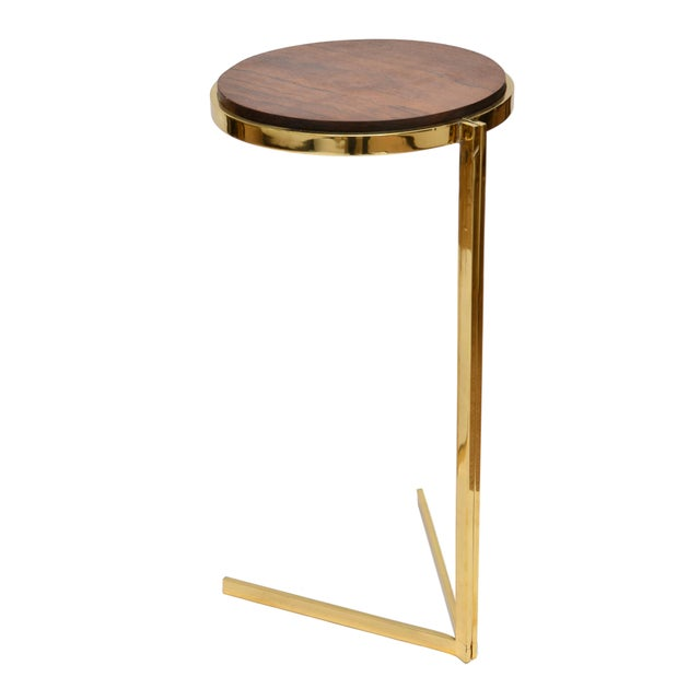 Personal Brass with Wooden Top Side Table - Image 2 of 9
