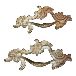French Rococo Cabinet Drawer Handles - a Pair For Sale