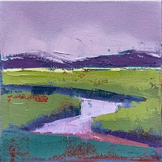 """Purple Marsh"" Abstract Landscape Oil Painting by Carrie Megan For Sale"