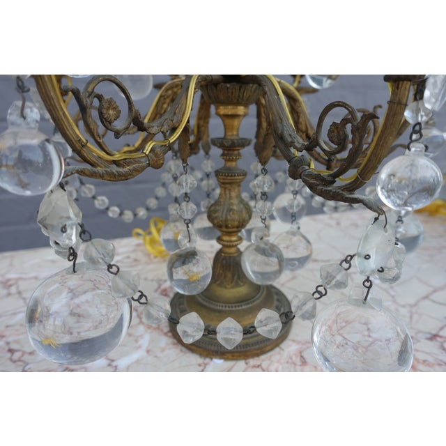 French Crystal & Bronze Lights - Pair - Image 8 of 9