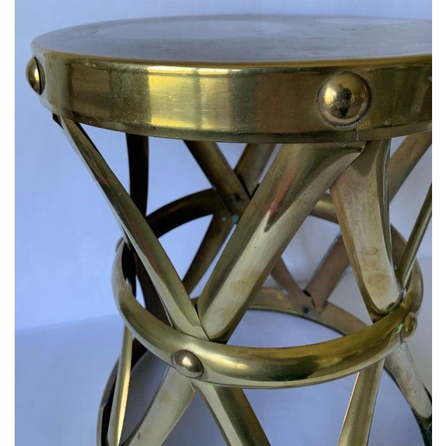 1970s Brass X-Frame Tabouret Stool For Sale - Image 4 of 7