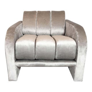 "Midcentury Channeled ""Deco"" Lounge Chair by Vladimir Kagan in Platinum Velvet For Sale"