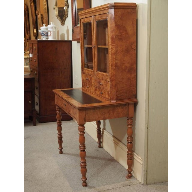 Brown Antique French Louis Philippe Burled Elm Writing Table or Secretaire For Sale - Image 8 of 9
