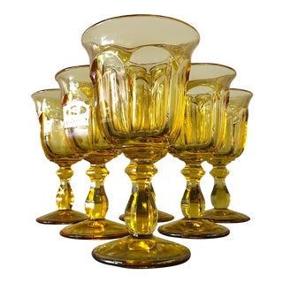 Heisey Old Williamsburg Yellow Water Goblets - Set of 6 For Sale