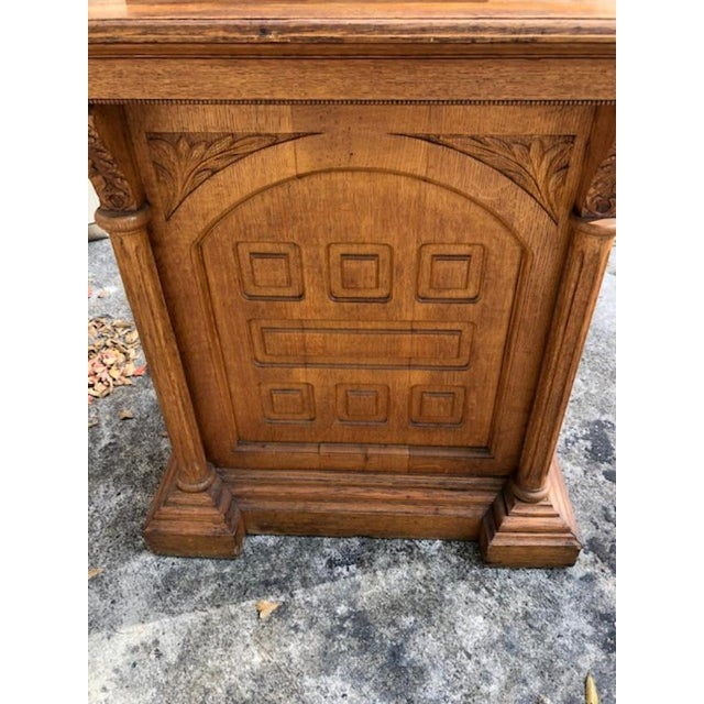 This is a very nice well made solid oak Lectern from a church, would be great as a drinks serving bar. Circa 1900 , place...