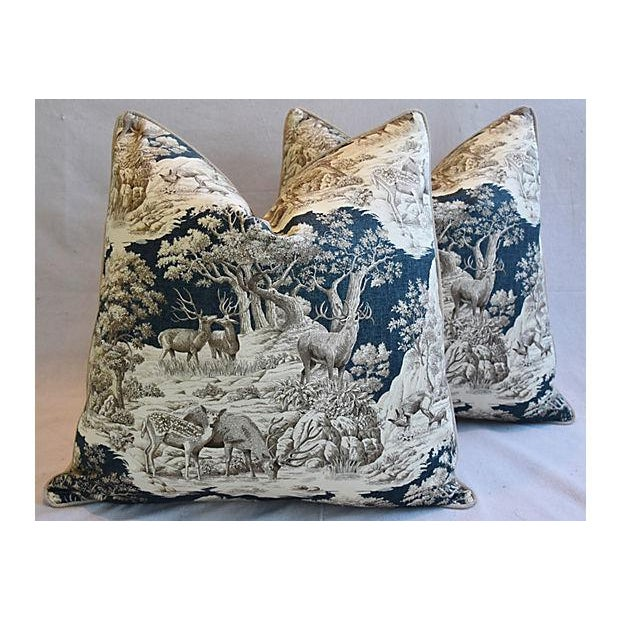 """Pair of large 25"""" square custom-tailored pillows in vintage/never used cotton printed fabric depicting a woodland wildlife..."""