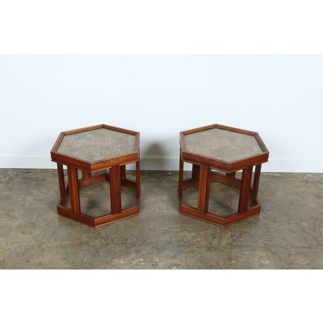Brown Saltman Hexagonal End Tables - A Pair - Image 4 of 10