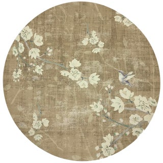 """Nicolette Mayer Blossom Fantasia Gold 16"""" Round Pebble Placemats, Set of 4 For Sale"""