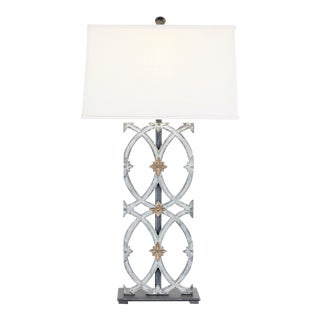 Cathedral Iron Table Lamp With Gold Accents and a Linen Shade For Sale