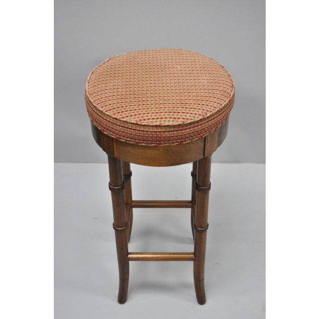 Mahogany Vintage Chinese Chippendale Style Mahogany Faux Bamboo Counter Bar Stool For Sale - Image 7 of 11