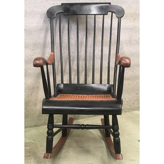 Late 19th Century 19th Hitchcock Rocking Chair With Woven Seat and Black Painted For Sale - Image 5 of 9
