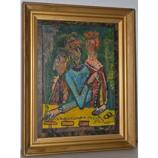 """Ruth Rosekrans (1926-2007) """"Sisters"""" Original Oil Painting C.1950s For Sale - Image 10 of 10"""