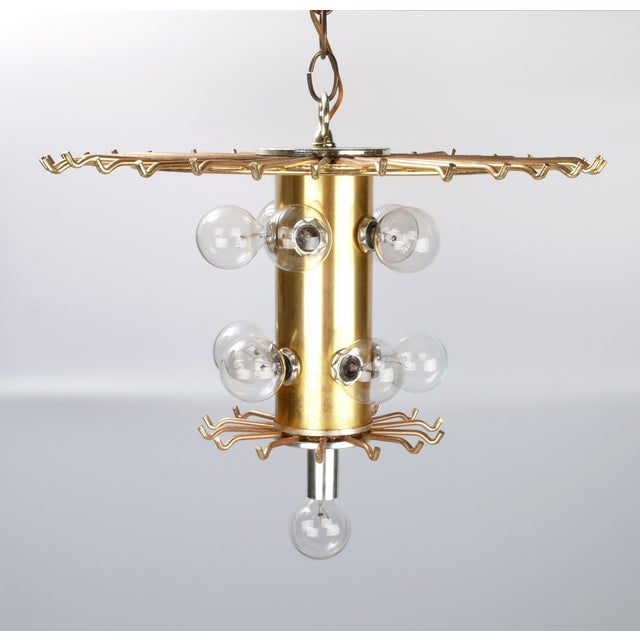 Round Brass & Lucite 11-Light Chandelier - Image 10 of 11
