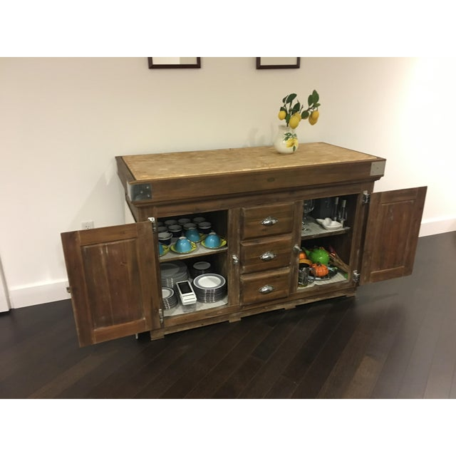 Wood Williams Sonoma French Farmhouse Kitchen Island For Sale - Image 7 of 9