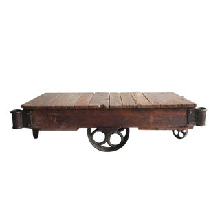 Early 20th C. Vintage American Industrial Cart Coffee Table For Sale
