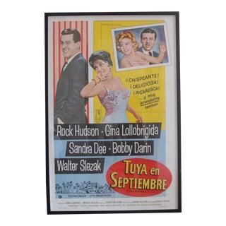 "1961 Vintage ""Come September"" Spanish ""Tuya en Septiembre"" Original Movie Poster For Sale"