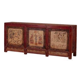 Antique Chinese Painted Pine Cabinet For Sale
