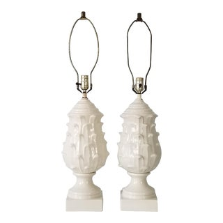 Vintage Hollywood Regency Artichoke White Ceramic Table Lamps - a Pair. For Sale