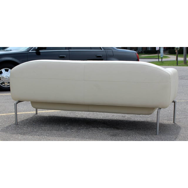 1980s Contemporary Modern White Leather Sofa on Steel Frame B&b Minotti Style Italian For Sale - Image 5 of 9