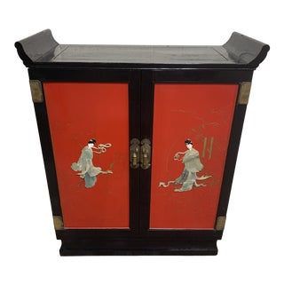 Vintage Red Black Lacquer Asian Bar For Sale