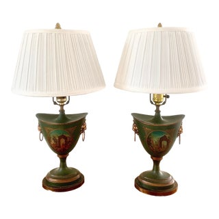 Italian Painted Tole Urn Lamps, Pair For Sale