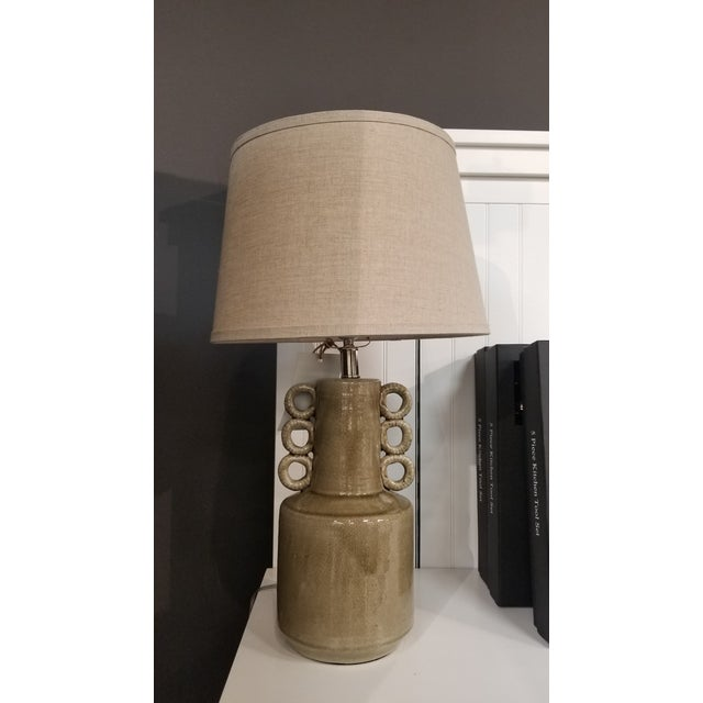 Transitional Taupe Cone Sea Circus Lamp With Shade For Sale - Image 3 of 3
