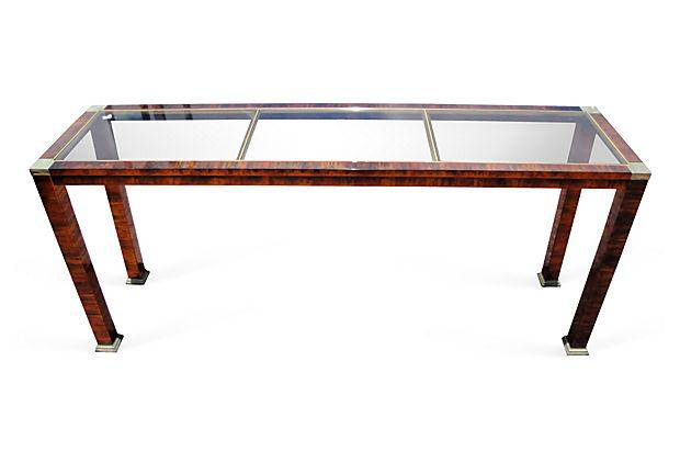 Console Bois Metal faux bois metal and glass console | chairish