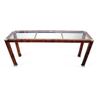 Faux Bois Metal and Glass Console For Sale