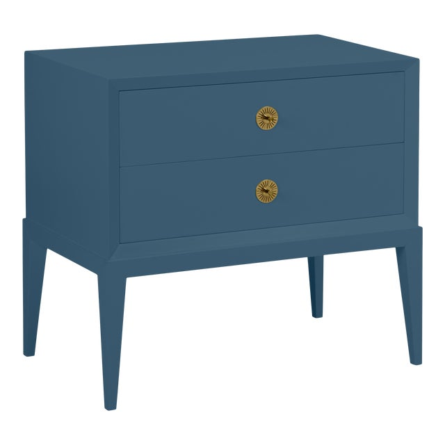 Casa Cosima Hayes 2-Drawer Side Chest, Van Deusen Blue For Sale