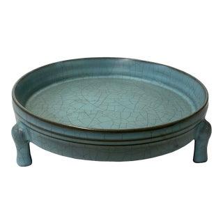 Ru Ware Light Blue Crackle Ceramic Round Holder Display For Sale