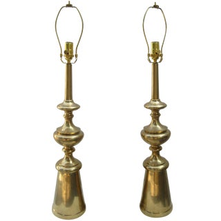 Pair of Modern Brass Lamps For Sale