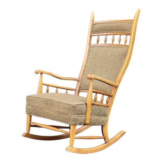 Maple High Back Rocking Chair For Sale