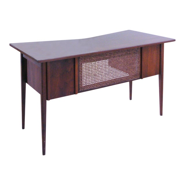 Edward Wormley for Dunbar Teak & Cane Desk For Sale