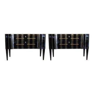 Late 20th Century Black Mirror and Brass Commodes - a Pair