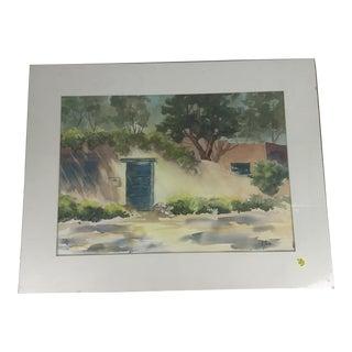 Original Watercolor Blue Door Painting For Sale